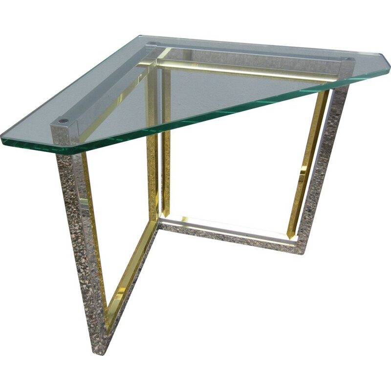 Vintage corner table in chrome and brass with glass top Romeo Rega 1970