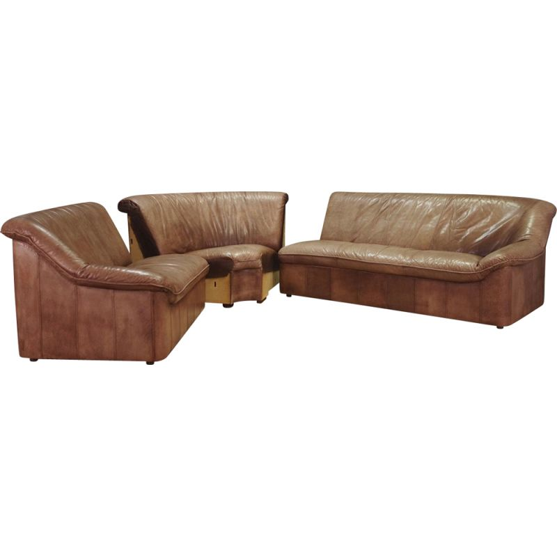 Vintage scandinavian leather corner sofa,1960
