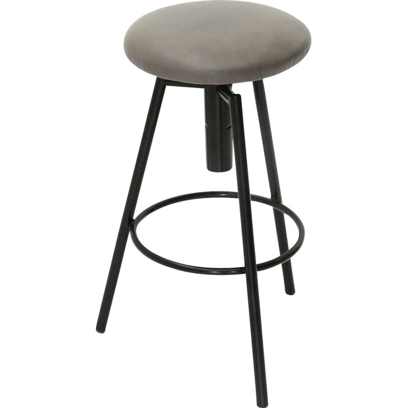 Vintage Metal stool with padded seat, 1960s