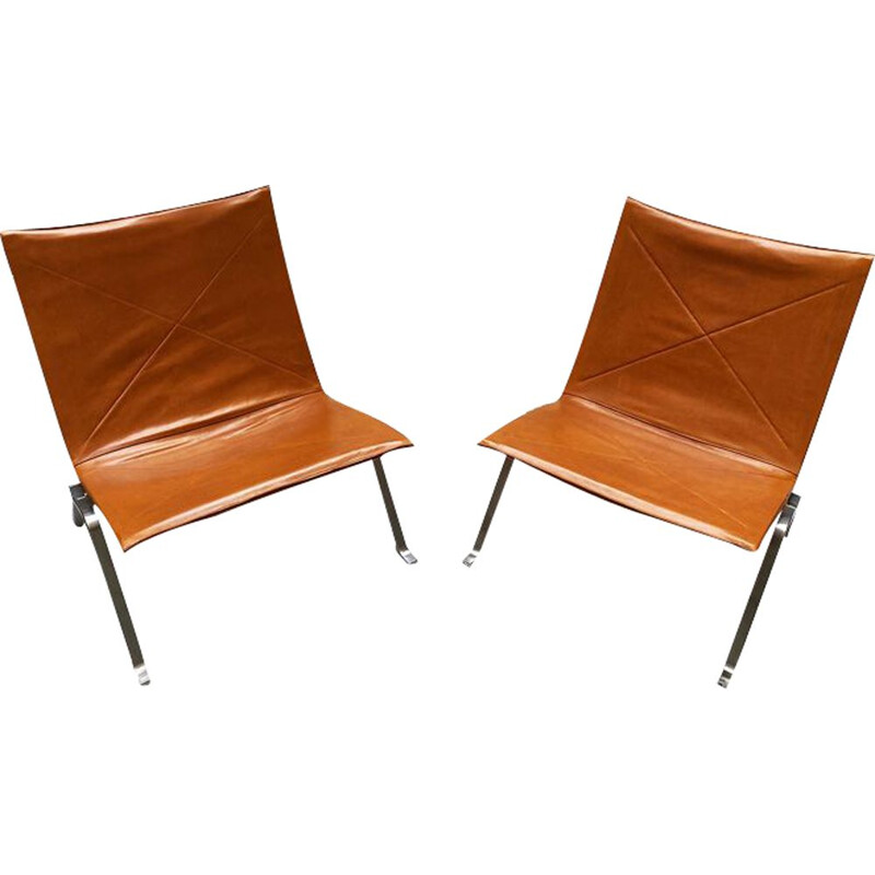 Pair of vintage leather low armchairs PK 22 Danish