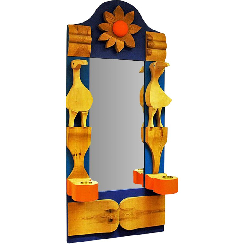 Vintage Pine Wallmirror with decorations by Erik Höglund - Sweden 1960s