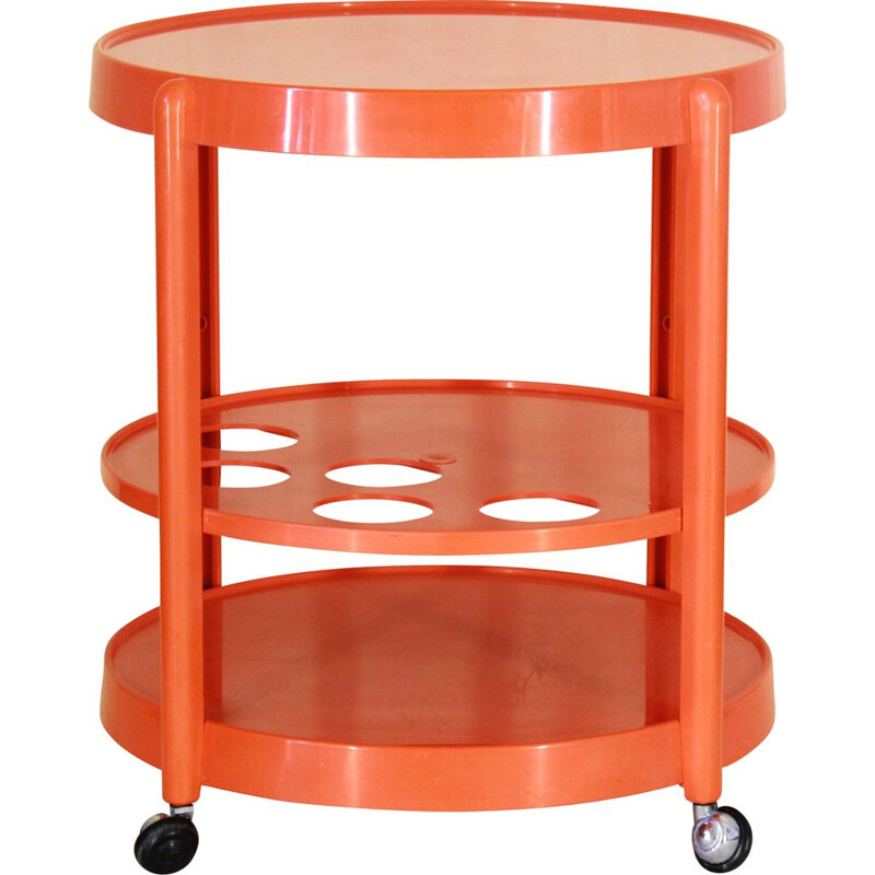 Vintage Orange Bar Cart Italy 1970s