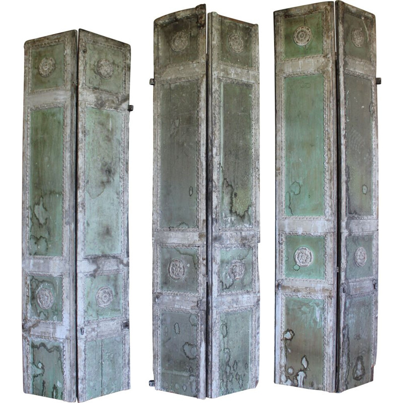 Set of 3 Vintage boiserie in butter white-aqua green lacquered wood with friezes in Rosettes 1900s