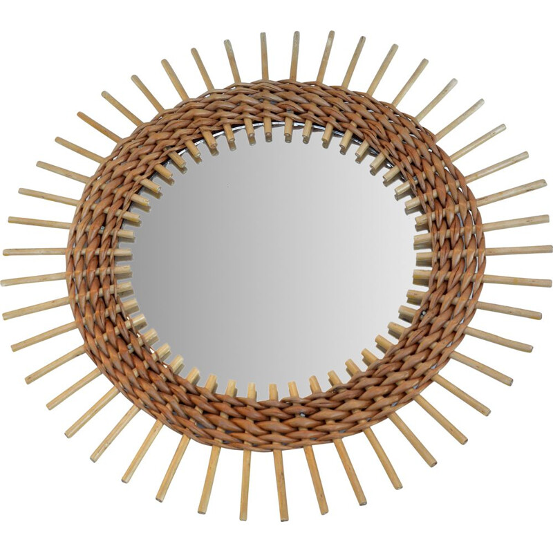 Vintage Wicker wall mirror Denmark 1970s