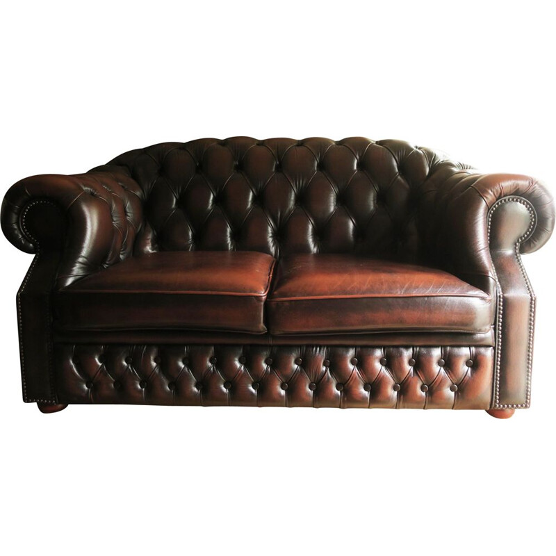 Vintage Chesterfield Sofa in Brown Leather