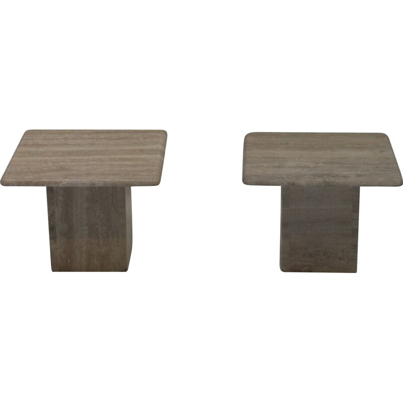 Pair of vintage travertine side table 1970s