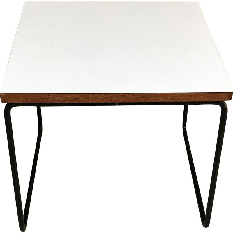 Vintage white coffee table by Pierre GUARICHE 1955s