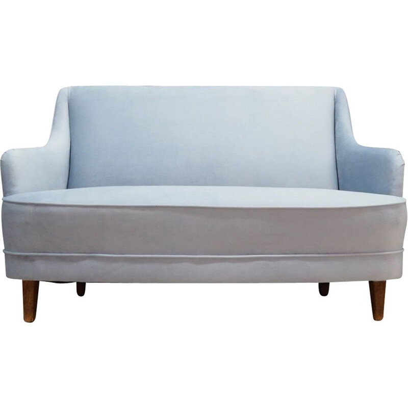 Vintage Danish sky blue sofa 1970