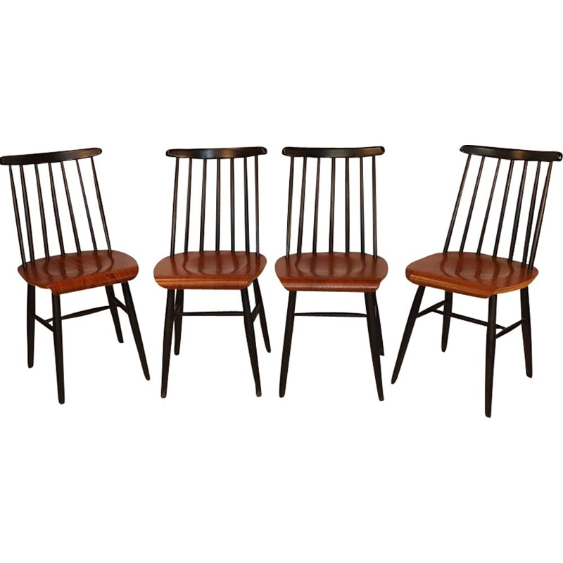 Set of 4 vintage Fanett chairs by Ilmari Tapiovaara 1960