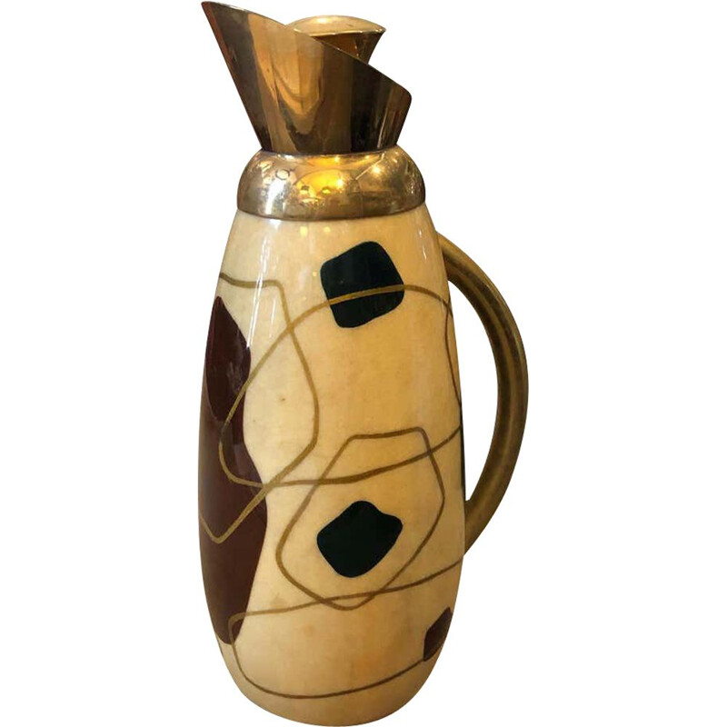 Vintage Modern Painted Wood and brass Thermos Carafe circa 1960