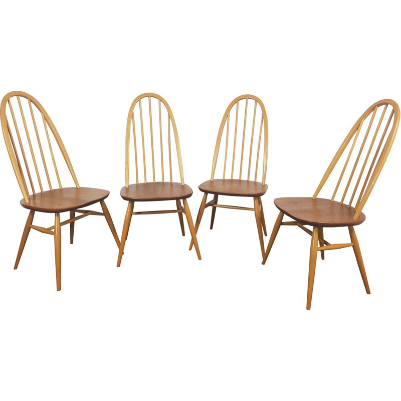Set of 4 vintage Ercol  Quaker Chairs 1960s
