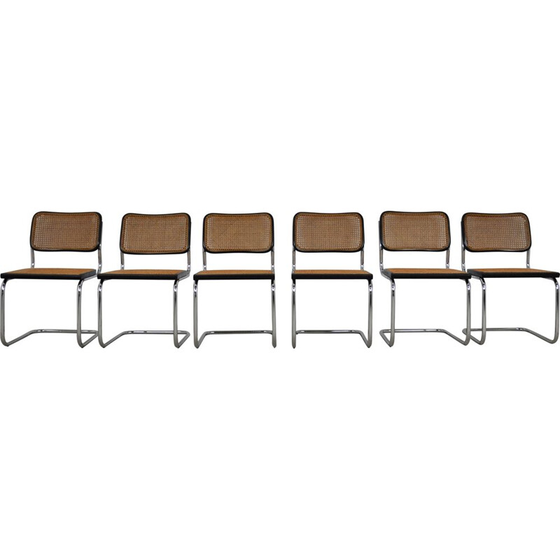Set of 6 Vintage Black Dinning Chairs B32 By Marcel Breuer 1980s