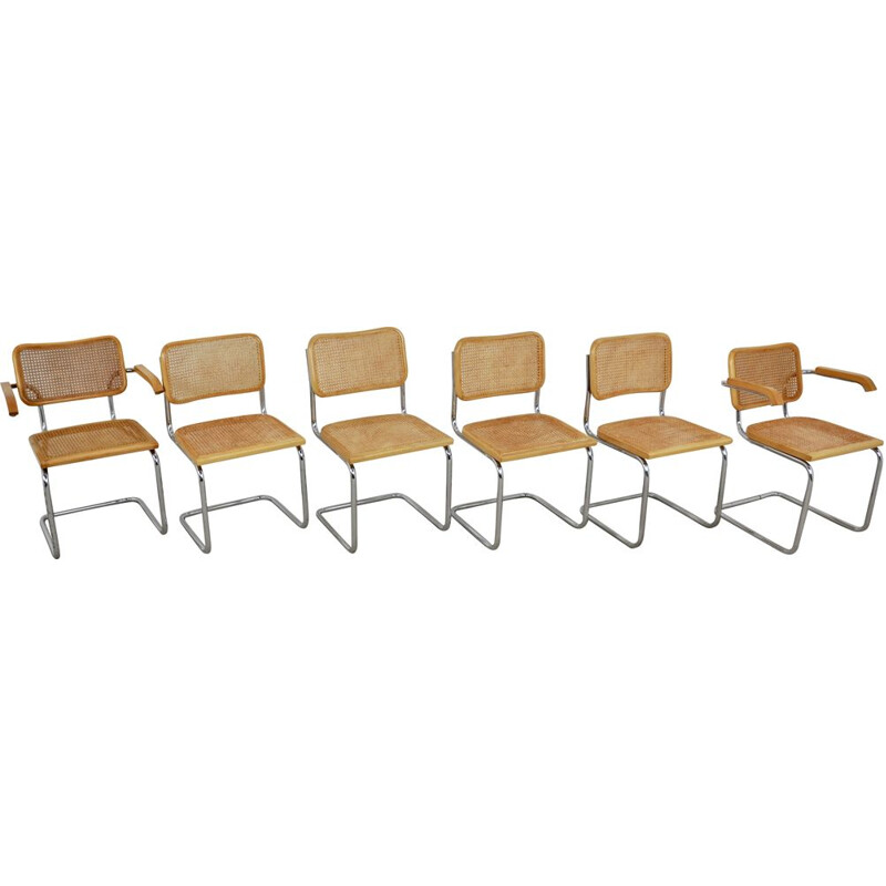 Set of 6 Vintage Dinning Chairs By Marcel Breuer 1980s