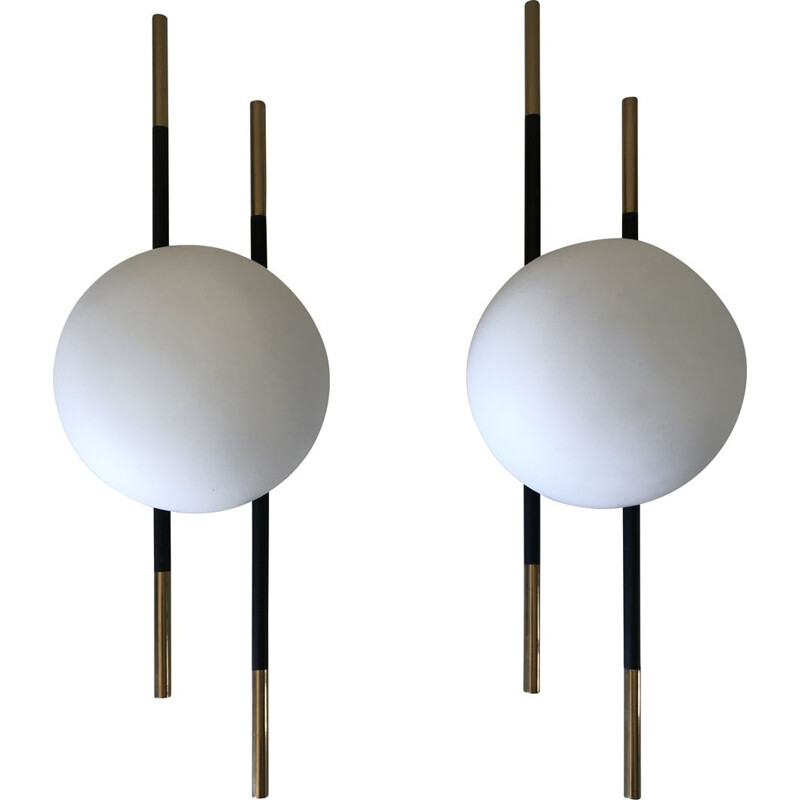 Pair of vintage sconces lunel 1960s