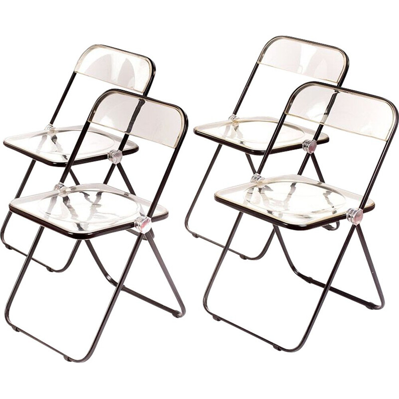 Set of 4 Vintage foldable Plia chairs by Giancarlo Piretti 1967s