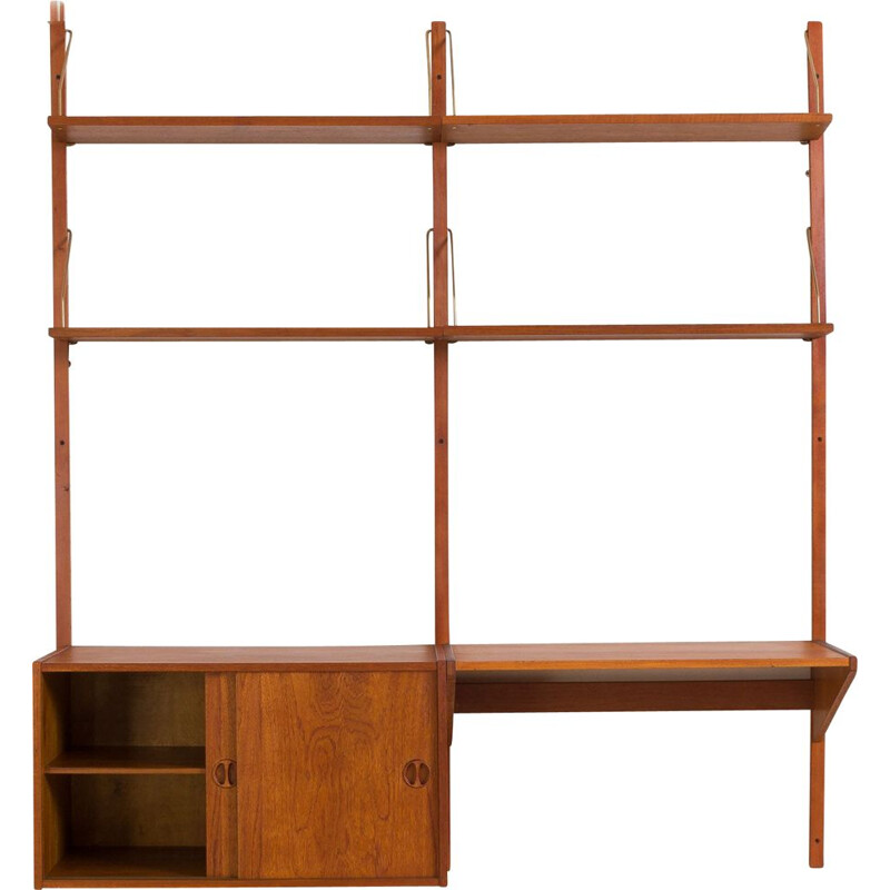 Vintage Danish teak wall unit  with desk and cabinet Cadovius 1970s
