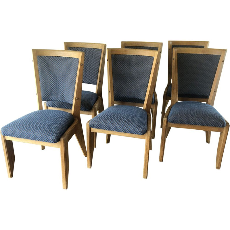 Set of 6 vintage oak chairs by Guillerme and Chambron 1960s
