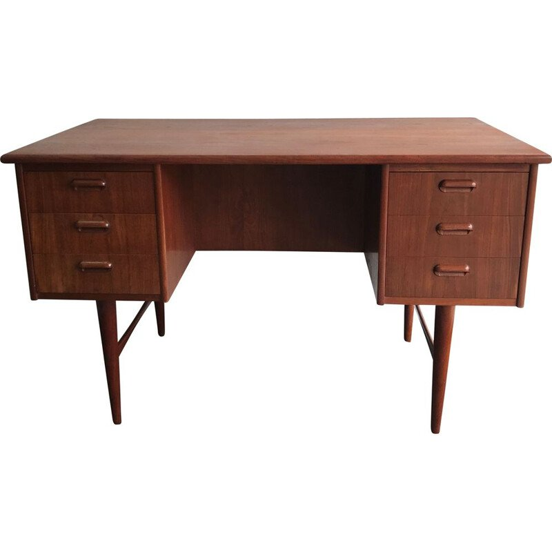 Vintage Danish Teak Twin Pedestal Desk 1960s