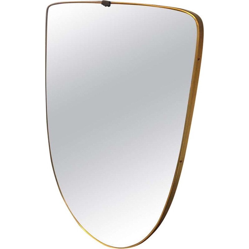 Mid-Century Modern Brass Shield Wall Mirror 1950s