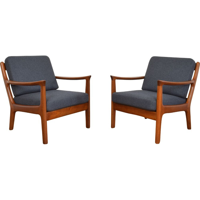 Set of 2 Mid-Century Danish Teak Lounge Chairs by Juul Kristensen 1960