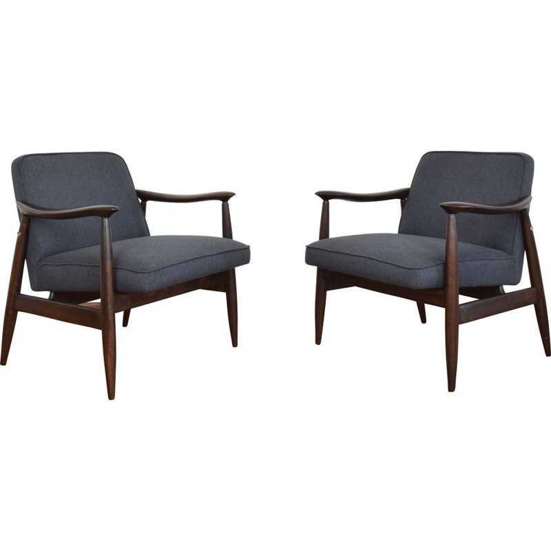 Pair of Mid-Century Lounge Chair by J. Kędziorek 1960s