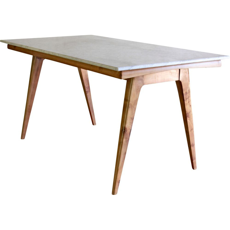 Vintage dining table in Italian Carrara marble Scandinavia 1950