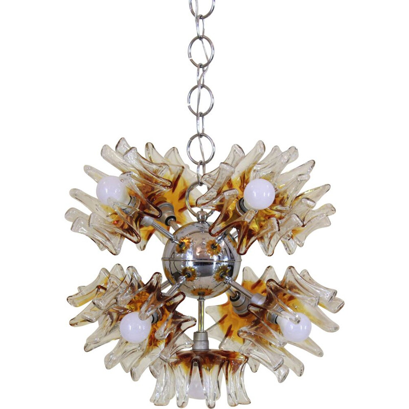 Vintage Chandelier In Murano Glass for Mazzega Italy 1970s