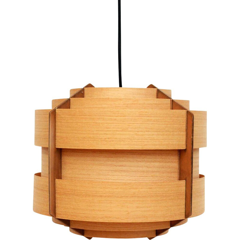 Vintage Swedish wooden pendant lamp by Hans Agne Jakobsson 1960s