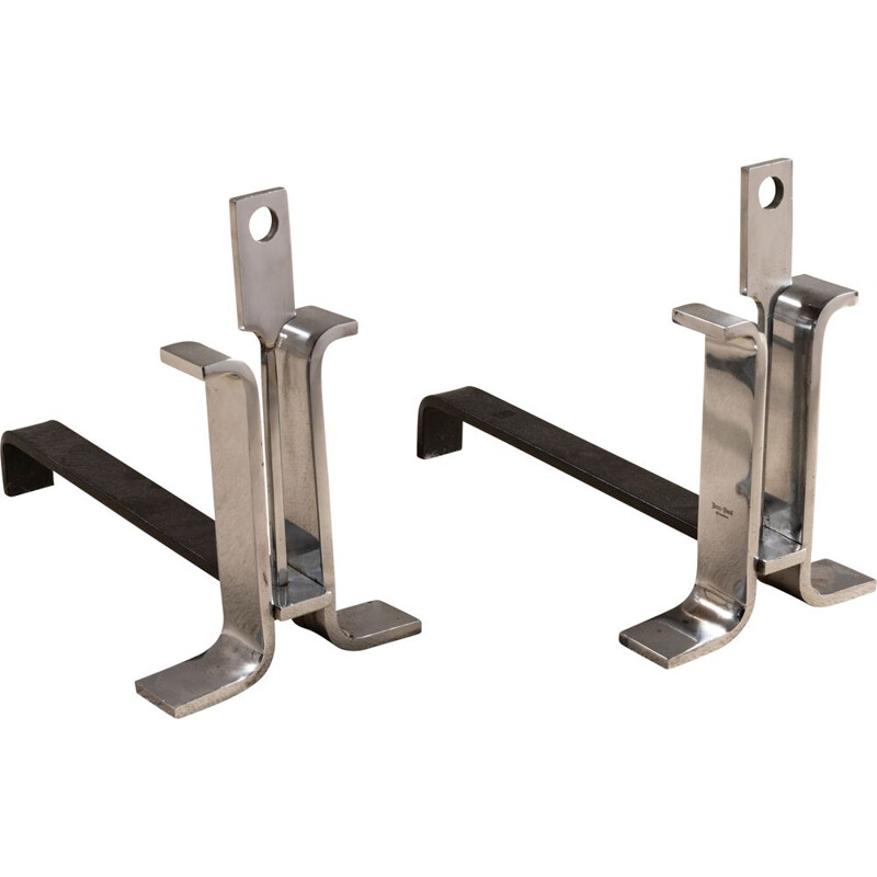 Pair of polished steel vintage chenets 1970
