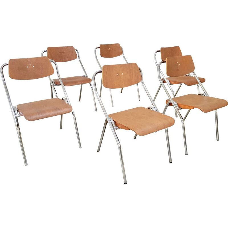 Set of 6 midcentury Mauser folding chairs by Erich Schelling 1954s