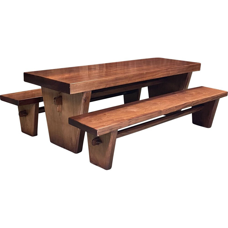 Vintage Art Deco table with its solid mahogany benches