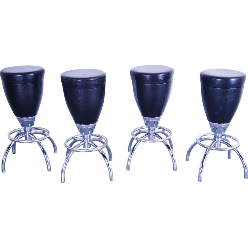 Set of 4 vintage heavy leather & chrome barstools