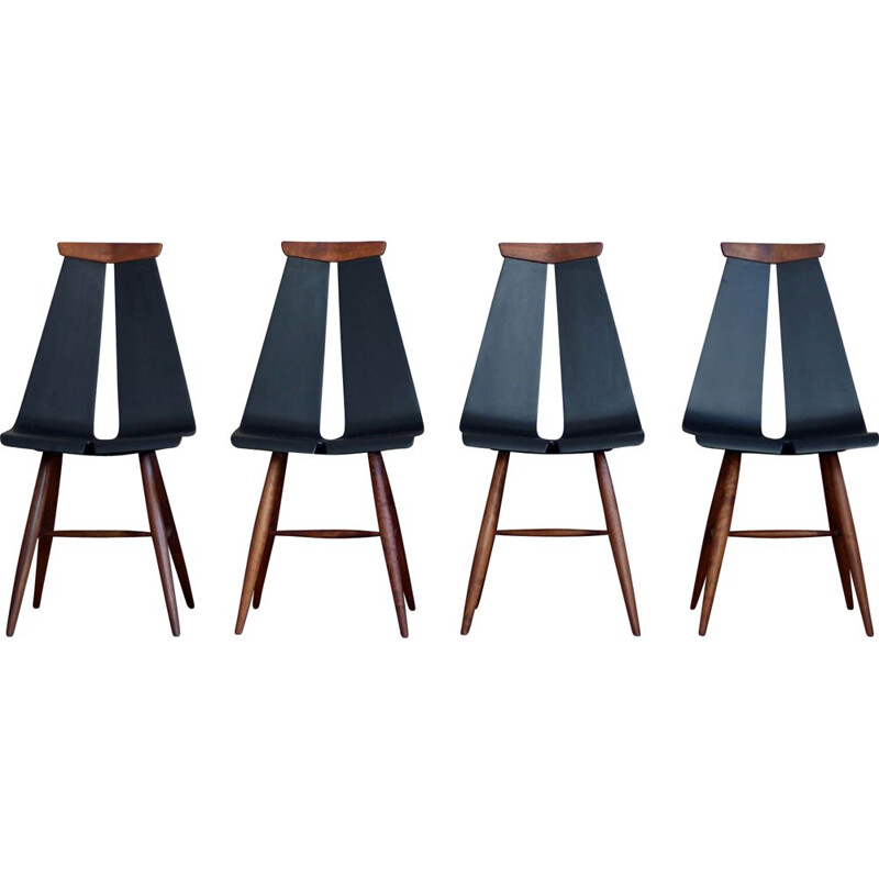 Set of 4 vintage Dining Chairs by Risto Halme for Isku Finland 1960s