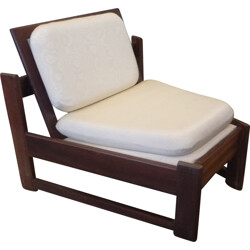 Scandinavian low chair in rosewood and cream satin - 1960s