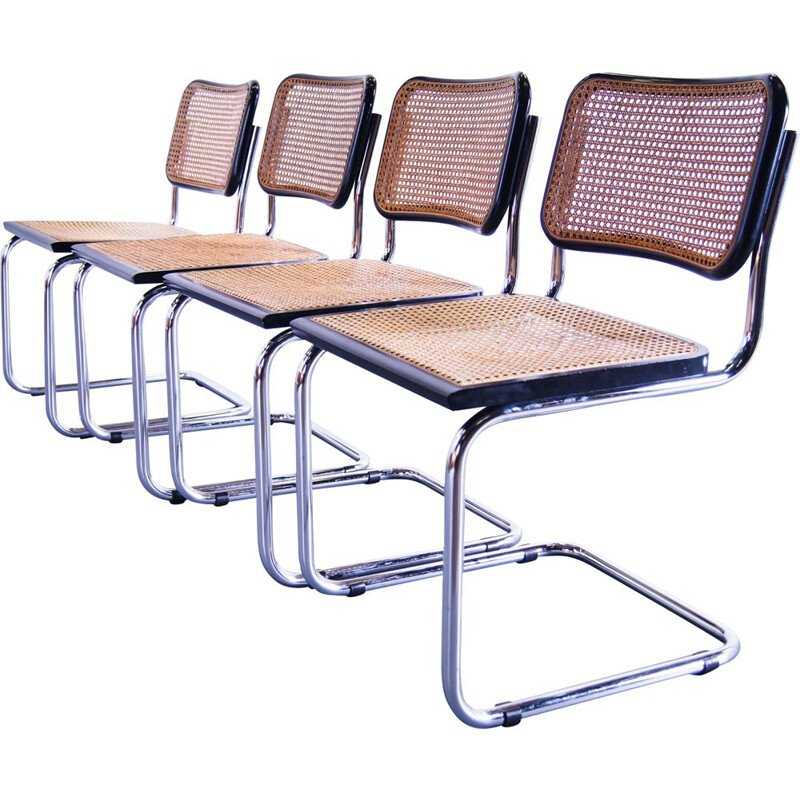 Set of 4 vintage dining chair Mart Stam for Cesca Black