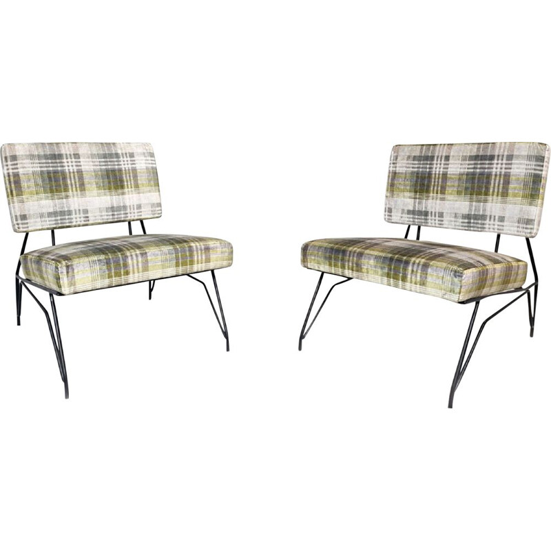 Pair of vintage lounge armchairs by Cerruti Di Lissone Italy 1950