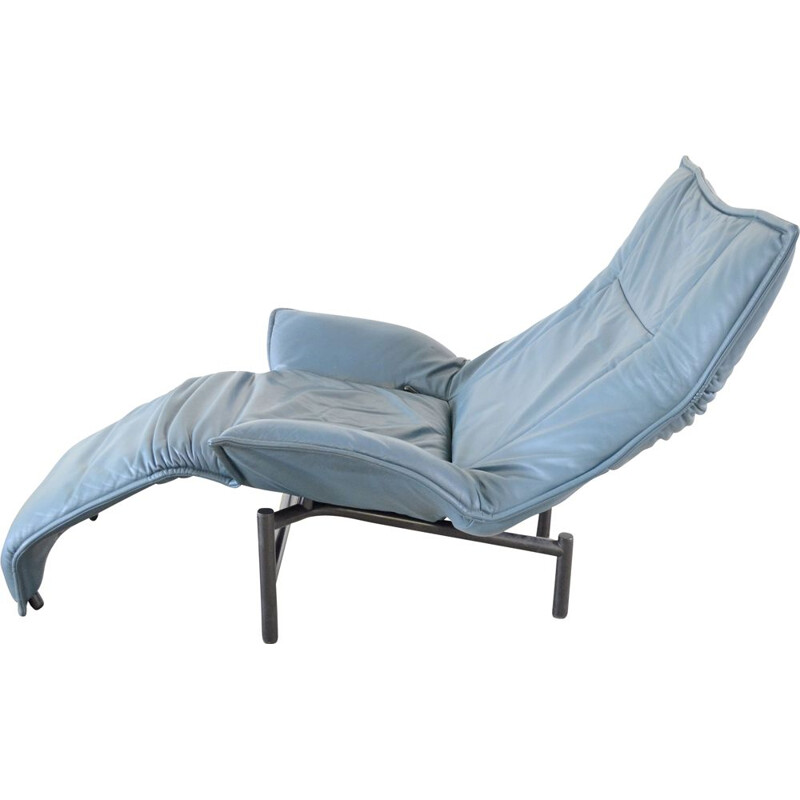 Blue vintage Cassina Veranda lounge chair by Vico Magistretti 1983