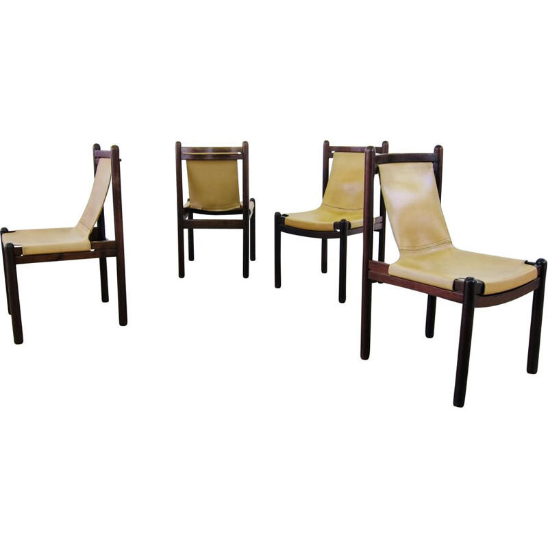 Set of 4 Vintage cognac leather sling chairs 1970
