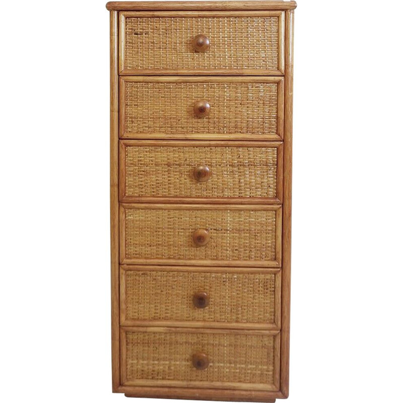 Vintage six-drawer bamboo and wickerwork chest of drawers