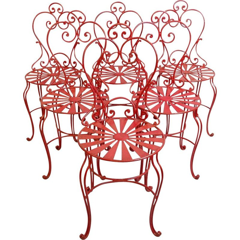 Set of 6 vintage red wrought iron chairs