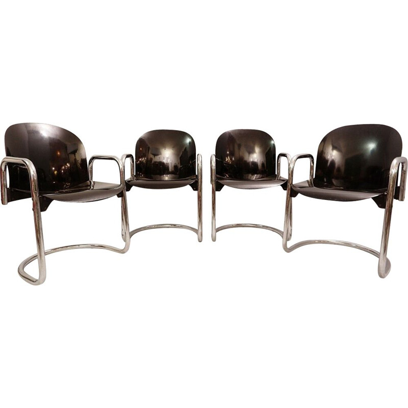 Set of 4 Vintage Chrome Chrome Dining Room Chairs by Tobia Scarpa for B&B Italia 1970