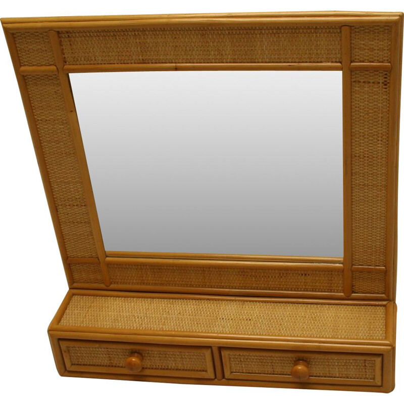 Vintage bamboo mirror with drawers 1970