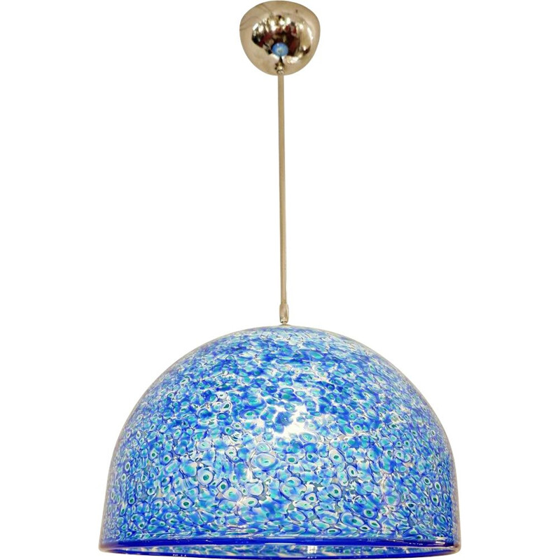 Vintage blue ceiling light Gae Aulenti, Murano, 1970