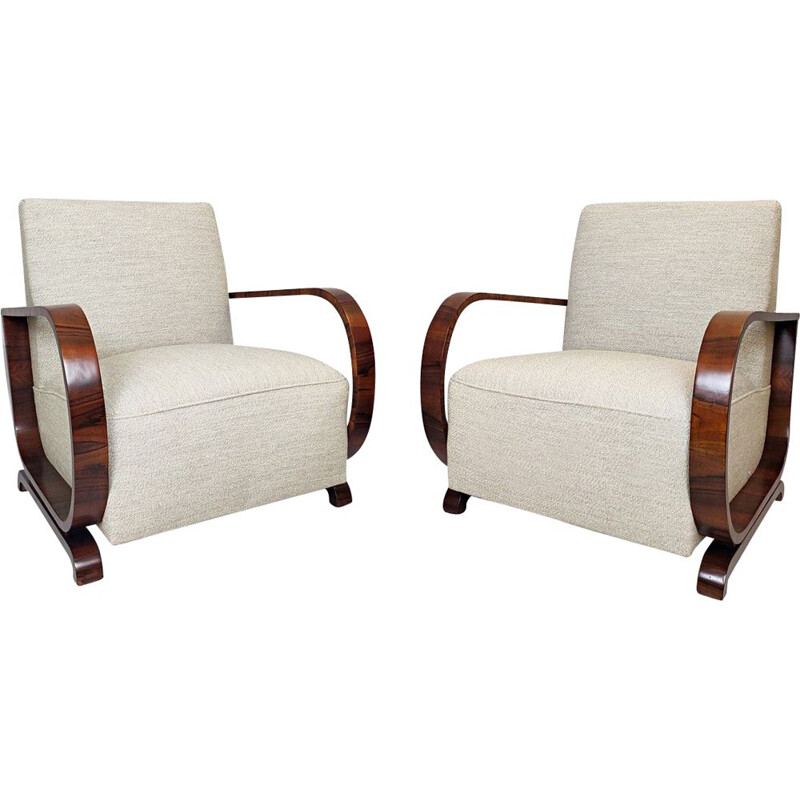 Pair of Austro-Hungarian Art Deco Vintage Armchairs