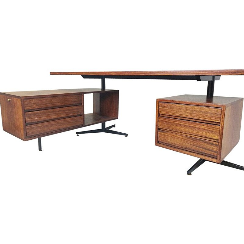 Vintage Rosewood Executive Desk by Osvaldo Borsani for Tecno Italy 1970
