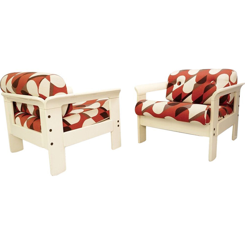 Pair of Silvano Passi vintage armchairs in cream lacquered wood 1970