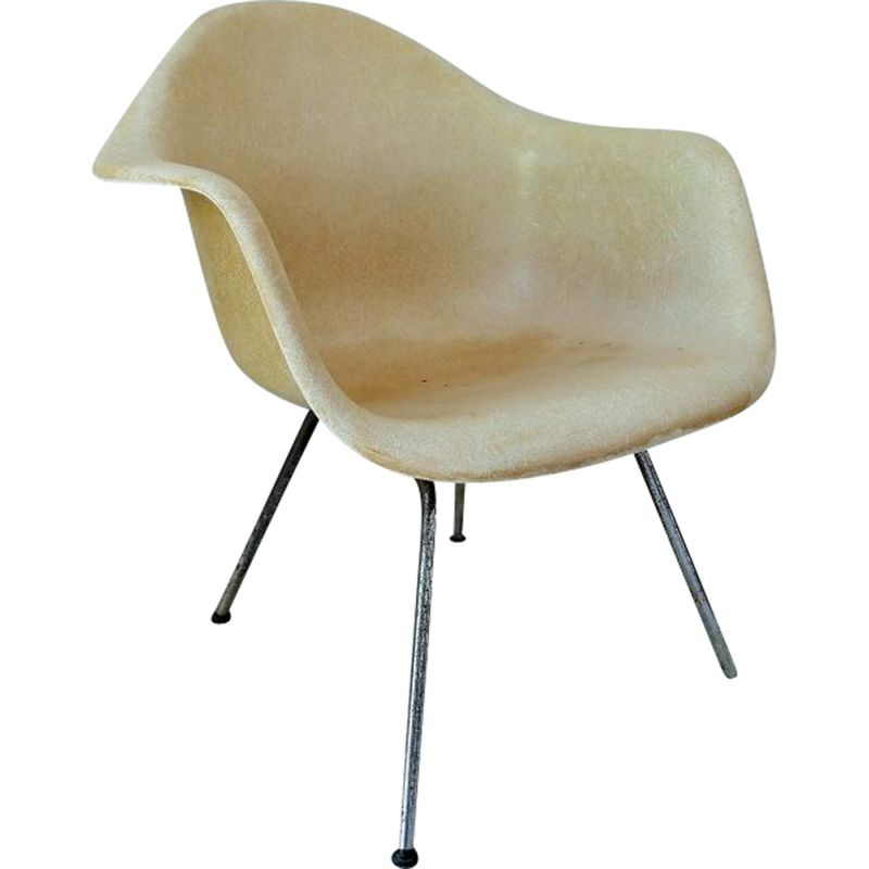 """Vintage white armchair """"LAH"""" Charles and Ray Eames 1955"""