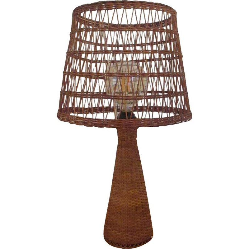 Vintage rattan and wicker lamp 1960