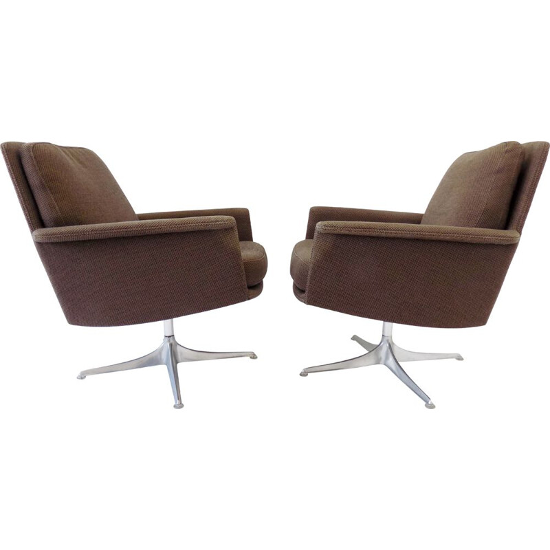 Paire of  vintage brown lounge chairs Cor Sedia by Horst Brüning 1960