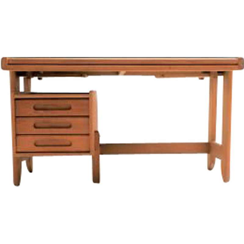 Vintage desk in light oak, Guillerme and Chambron